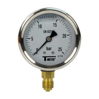 Manomètre inox - Insert laiton - 0-25 bars ø 63 - 1/4'' - Radial /  Glycérine