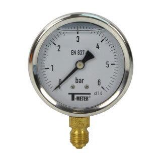 Manomètre inox - Insert laiton - 0-6 bars ø 63 - 1/4'' - Radial /  Glycérine