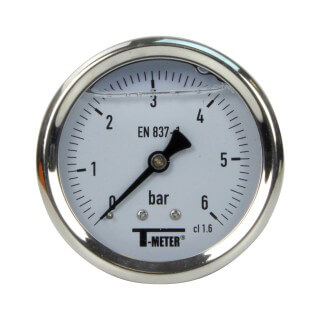 Manomètre inox - Insert laiton - 0-6 bars ø 63 - 1/4'' - Axial /  Glycérine