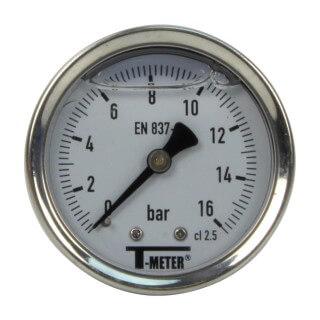 Manomètre inox - Insert laiton - 0-16 bars ø 50 - 1/4'' - Axial /  Glycérine