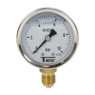 Manomètre inox - Insert laiton - 0-10 bars ø 50 - 1/4'' - Radial /  Glycérine