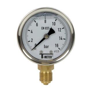 Manomètre inox - Insert laiton - 0-16 bars ø 50 - 1/4'' - Radial /  Glycérine