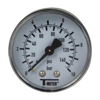 Manomètre plastique - Insert laiton - 0-10 bars ø50 - 1/4'' - Axial / sec