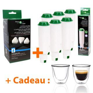 Filtre à eau compatible Claris Krups F088 + Détartrant + Tasses à café offertes