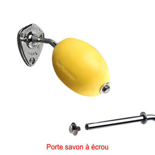 Savon jaune rotatif citron Provendi avec porte-savon chromé à écrou
