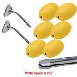 Lot 6 savons jaunes rotatif écolier à clip + 2 portes savons Clip