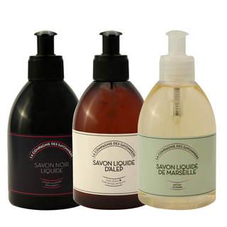 Lot de savons liquide Noir, Alep et Orchidée 300 mL