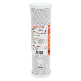 Cartouche CBH-0.5-934 Super Premium charbon actif 9''3/4 - 0,5 µm - Crystal Filter®